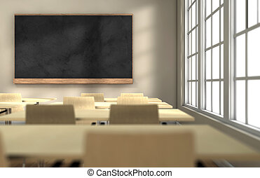 Classroom board - Classroom with desks and blackboard with...