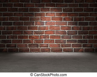 Brick wall concrete floor background