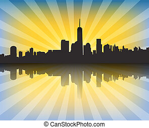 Modern cityscape at sunset with sunrays and reflection....