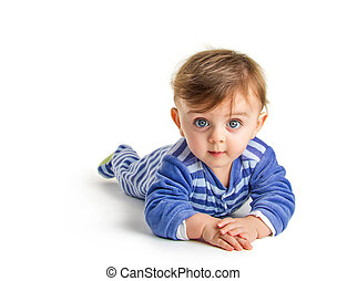 Baby crawling - Lovely baby crawling on white background