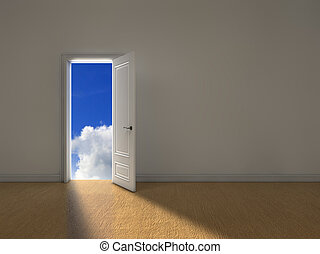 Sky door - Opened door with light coming from outside