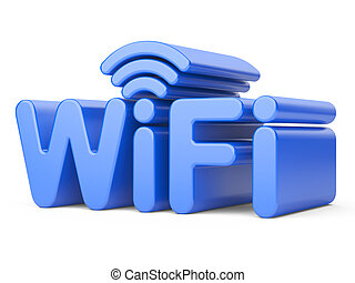 Wireless Network Symbol - WiFi. 3d illustration isolated on...