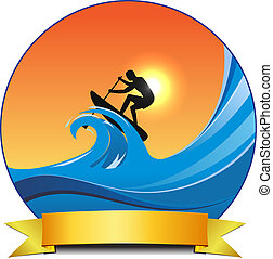 surf paddling - vector concept surf paddle illustration,...