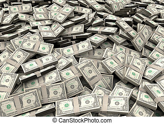 Millions of dollars - Pile of packs of dollar bills