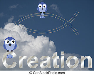 Creation text and bird vicar against a cloudy blue sky