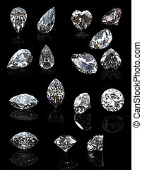 Gemstome shape of pear - Set of jewelry gems on black...