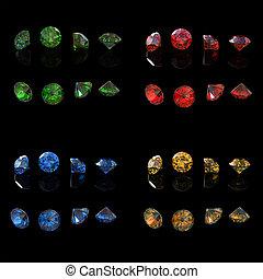Round gemstone . Emerald. Peridot