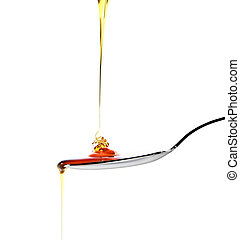Spoon of honey - Dropping honey on a spoon isolated