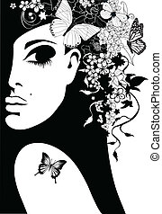 silueta, mulher, flores, borboletas, vetorial,...