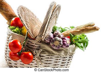 cesta, primavera, legumes, cheio, fresco