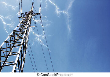 Power lines with lightning volts