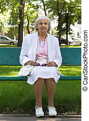 elderly woman in park - 83 yearl old woman in park