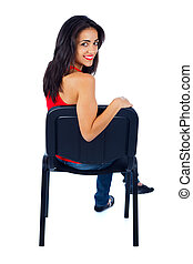 Kind Young Lady Sitting in Front