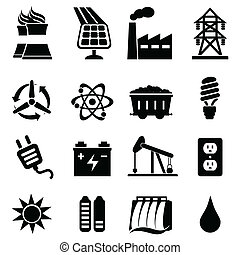 Energy icon set - Energy related icon set in black