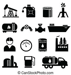 Oil and petroleum icon set in black