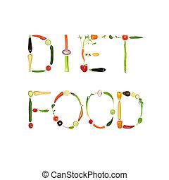 Diet Food - Vegetable selection spelling the words diet...