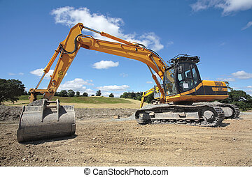 Industrial Earthmover - Industrial digger standing idle on a...