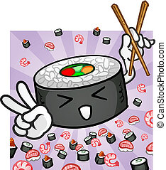 Sushi Character With Chopsticks - A sushi roll cartoon...