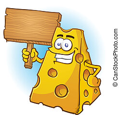 Cheese Cartoon Character Sign - A big chunk of yellow cheese...