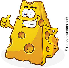 Cheese Cartoon Character Thumbs Up - A big chunk of yellow...