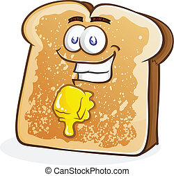Buttered Toast Cartoon Character - A smiling happy piece of...