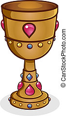 Gold Cup Cartoon Vector - A precious gold chalice grail,...