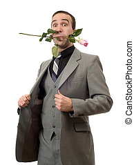 Man With Rose In Mouth