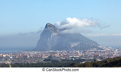 Rock of Gibraltar with a Levant cloud Time lapse video