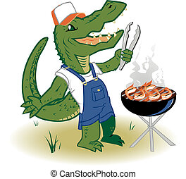 Grillin Country Gator - A backwoods alligator cooking shrimp...