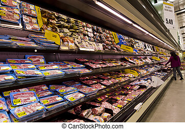 Meat on shelves in supermarket - KAITAIA, NZ - JUNE 21:Fresh...