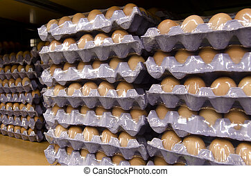 Eggs in trays - KAITAIA, NZ - JUNE 21:Eggs in trays on June...