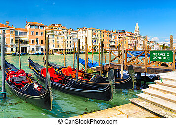 Gondolas on the Grand Canal, Venice - Gondolas on the Grand...