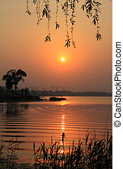 river landscape in the evening in north china