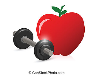 fitness weight and apple illustration