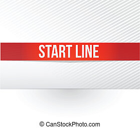 start line red tape illustration design over a white...