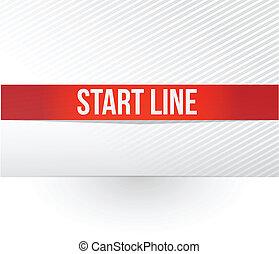 start line red tape illustration design over a white...