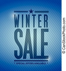 winter sale banner illustration design over a blue...