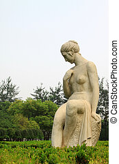 Shijiazhuang, August 10: Lady nude stone sculpture in the...
