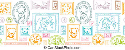 Family framed pictures horizontal seamless pattern...