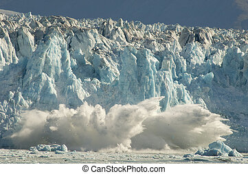 Calving Glacier - Effects of Global Warming causes glacier...
