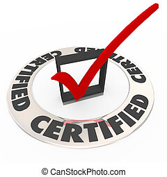Certified Ring Word Check Mark Box Approved License Symbol -...