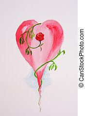 heart painted with watercolours on a paper