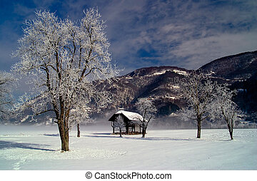 Winter landscape with old barn.