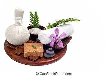 Thai spa and massage set in white background
