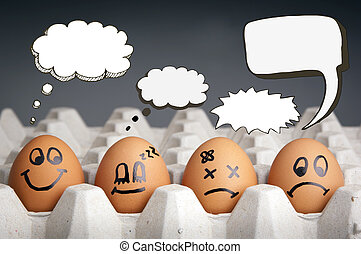 Thought Balloon Egg Characters - Mental health concept in...