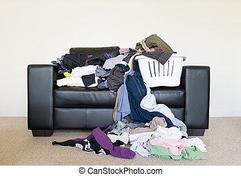 Pile of Washing - Housework concept of a large pile of...