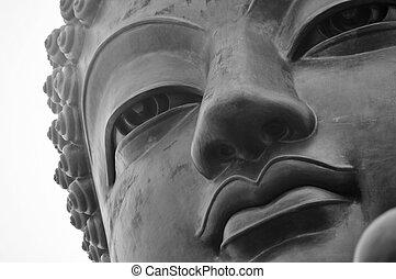 Tian Tan Buddha shrouded in fog.