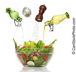 El verter, aislado, colorido, Condimentos, ensalada