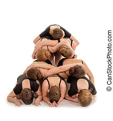 Pile of Dancers Bodies in Modern Pyramid Staircase - Child...