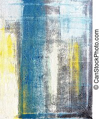 Teal and Yellow Abstract Art